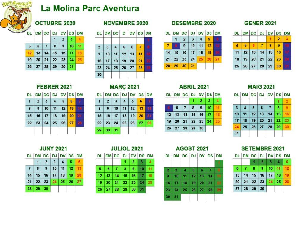 Calendari i Horari LaMolina 20-21